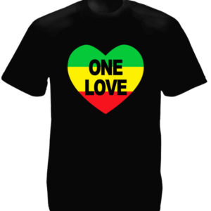 T-Shirt Noir Cœur Rastafari One Love Bob Marley pour Homme et Femme