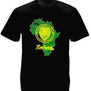 T-Shirt Noir en Coton Continent Africain Rastafari et Lion de Juda