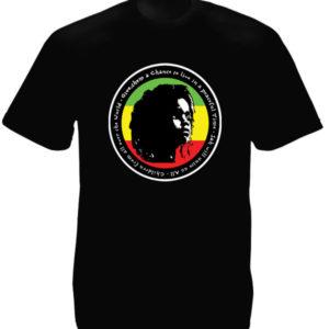T-Shirt Noir en Coton Homme Impression Rasta Baby