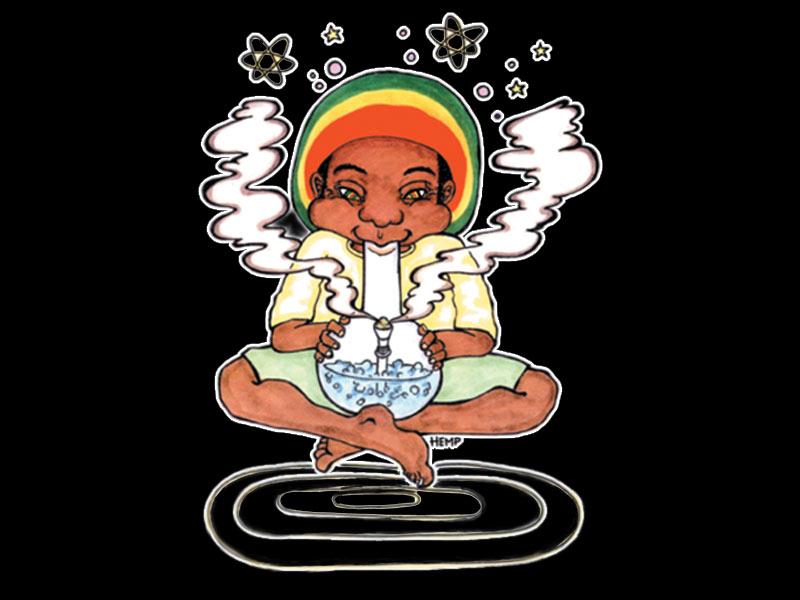 tee-shirt noir avec dessin de rasta qui fume un bang