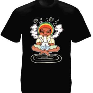 T-Shirt Noir avec Dessin de Rasta qui Fume un Bang