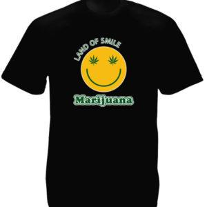 T-Shirt Noir en Coton Pub pour la Marijuana avec Smiley