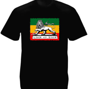 T-Shirt Noir Homme Drapeau Rastafari Lion of Zion