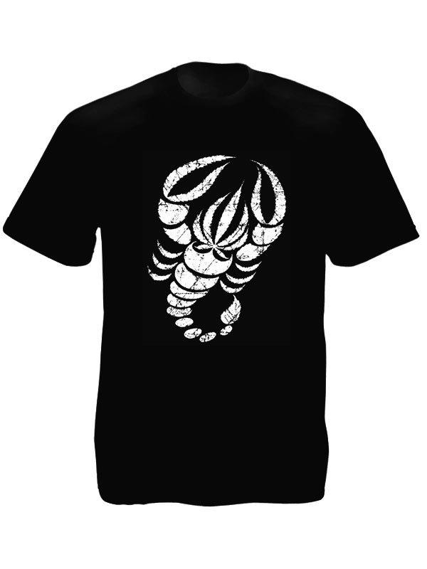 T-Shirt Noir Homme Signe du Scorpion en Feuilles de Cannabis