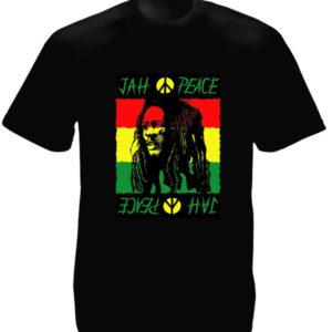 T-Shirt Noir Jah Peace Bob Marley en Coton pour Homme et Femme