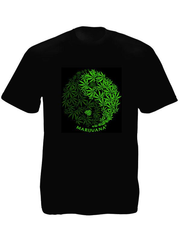 T-Shirt Noir Logo Yin et Yang avec Feuilles de Marijuana à Manches Courtes