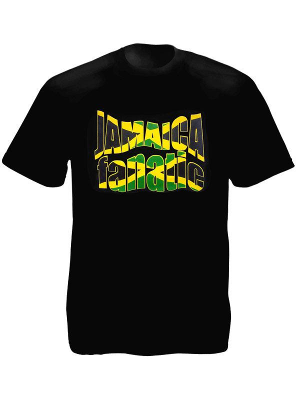 T-Shirt Noir Manches Courtes Jamaica Fanatic pour Supporter la Jamaïque