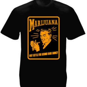 T-Shirt Noir Manches Courtes Vieille Pub pour le Cannabis