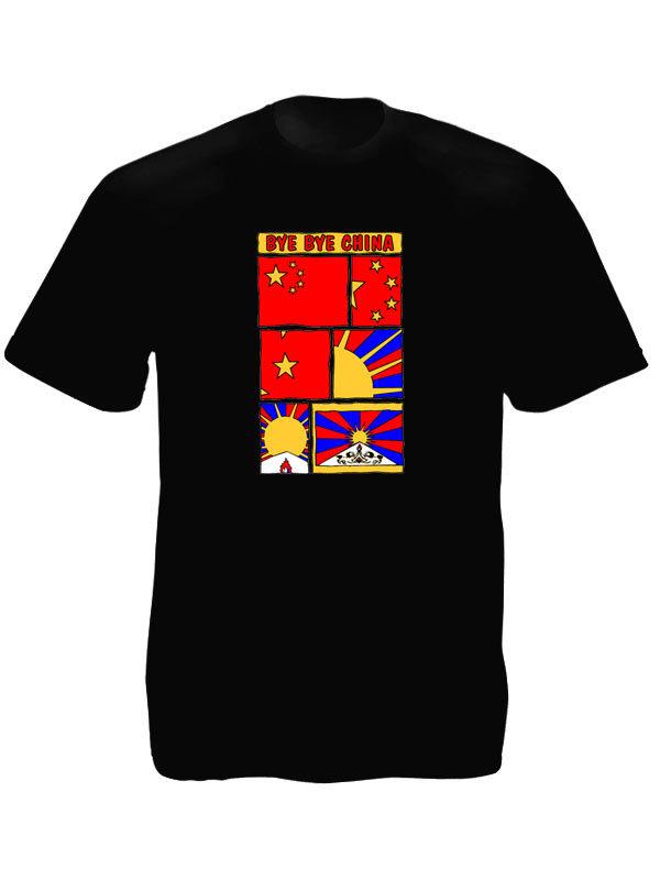 T-Shirt Noir Politique Tibet Libre Bye Bye China à Manches Courtes