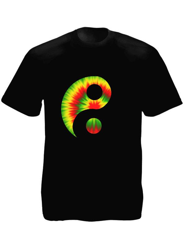 T-Shirt Noir Style Retro Signe Yin et du Yang Psychédélique