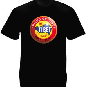 T-Shirt Noir Tibet Libre Free Tibet en Coton avec Manches Courtes