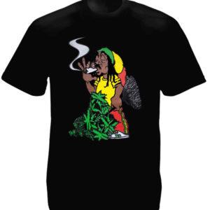 T-Shirt Noir pour Homme avec Impression Image Rasta Amusante