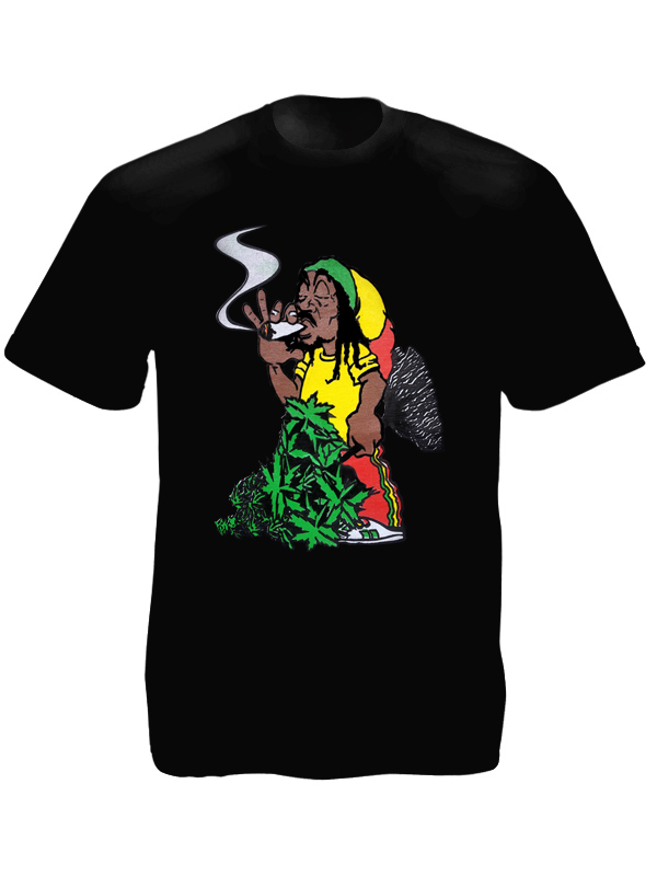 t shirt noir pour homme avec impression image rasta amusante tshirt blanc. Black Bedroom Furniture Sets. Home Design Ideas
