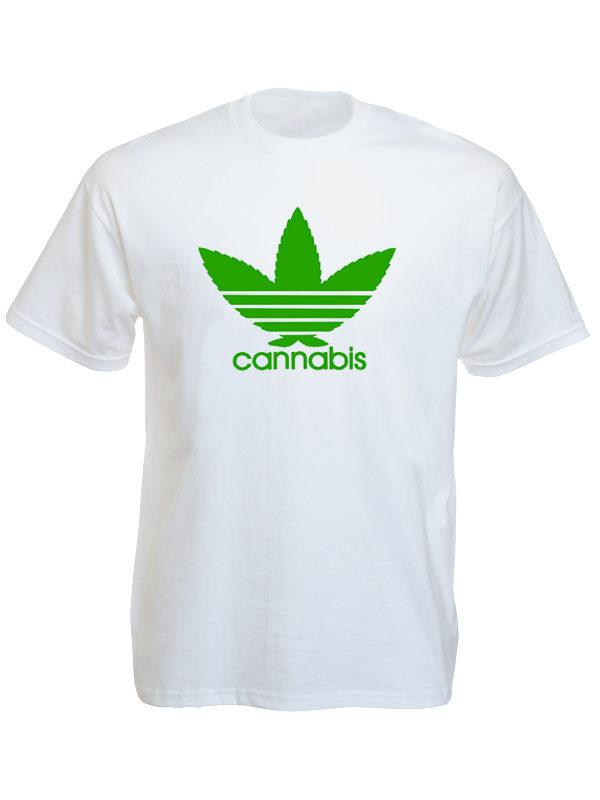 Tee Shirt Blanc Amusant Adidas Cannabis Taille L Homme