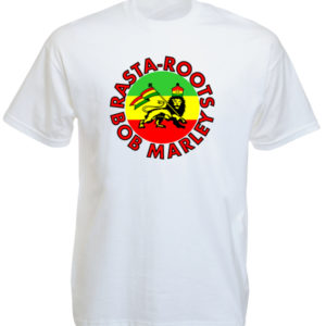 Tee Shirt Blanc Col Rond Rasta Roots Bob Marley pour Homme