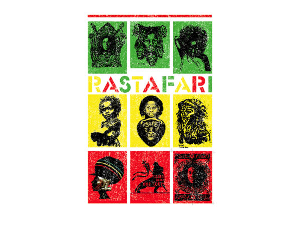 T-Shirt Blanc Coton Ethnie Rastafari Imprimé Vert Jaune Rouge pour Homme