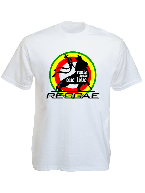 Tee Shirt Blanc Coton Reggae Rasta Peace One love