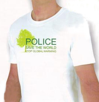 Tee Shirt Blanc Ecolo Police Coupe Slim Manches Courtes