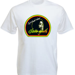 Tee Shirt Blanc Ghetto Youth Rastafari Spiritual Wear à Manches Courtes