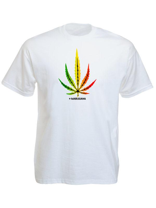 T-Shirt Blanc Homme Feuille de Cannabis Rasta Manches Courtes