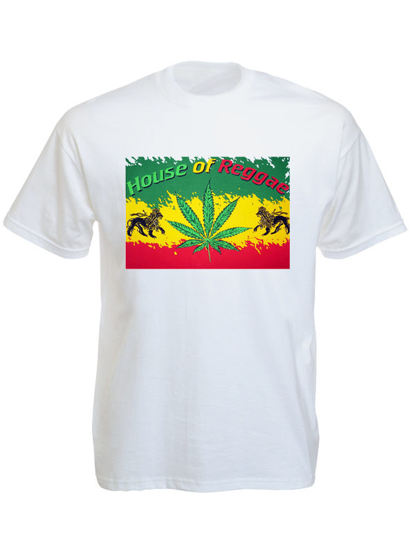 Tee-Shirt Blanc House of Reggae Lion de Juda Manches Courtes en Coton