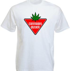 Tee Shirt Blanc Manches Courtes Cannabis Buyer pour Fumeurs