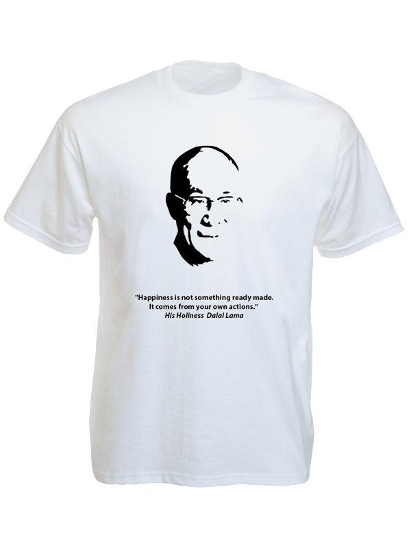 Tee Shirt Blanc Manches Courtes Dalaï-lama Pensée Bouddhiste
