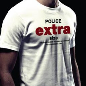 Tee-shirt Blanc Police Extrasize Manches Courtes 100% Coton