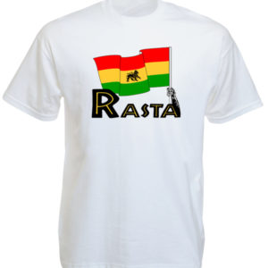 Tee Shirt Blanc Rasta Traditionnel Drapeau Vert Jaune Rouge avec Lion de Judah