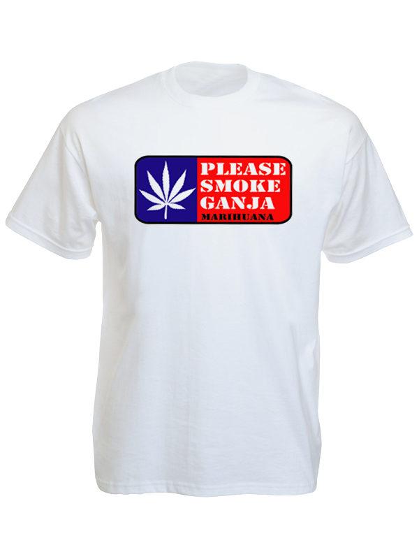 Tee Shirt Blanc Uni en Coton Appel à Fumer du Cannabis