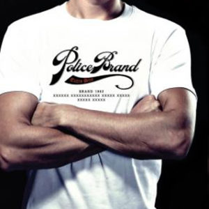 Tee Shirt Blanc Uni Police Brand Col Rond Taille L Manches Courtes