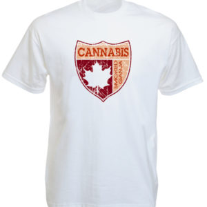 Tee Shirt Coloris Blanc Blason Canada Feuille Erable Cannabis