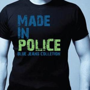 Tee-Shirt Police de Couleur Noire Tendance et Chic en Coton