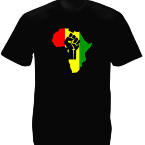 Tee Shirt Noir Afrique Rouge Jaune Verte Poing Levé Black Power