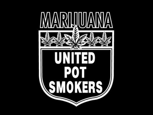 Tee Shirt Noir en Coton pour Homme Union des Fumeurs de Cannabis