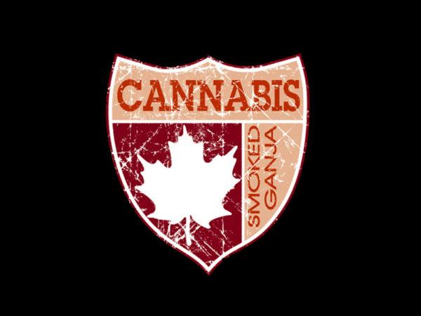 Tshirt Noir Coton Manches Courtes Emblème Canadien Smoked Ganja