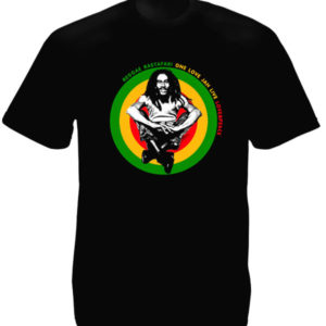 Tee Shirt Noir Homme Love and Peace Reggae Bob Marley