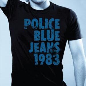 Tee-Shirt Noir Léger Résistant Marque Police Manches Courtes