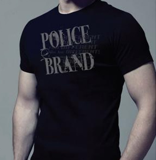 Tee Shirt Noir Marque Police Homme Manches Courtes et Col Rond