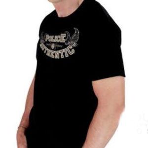 Tee Shirt Noir Police Authentic Pas Cher à Manches Courtes