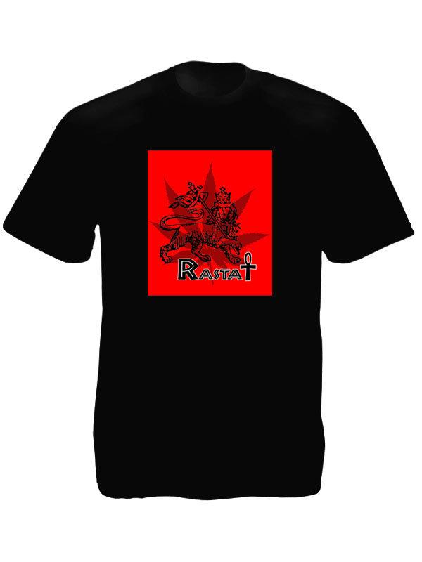 Tee Shirt Noir Taille L Croix Ansée Lion Rasta à Manches Courtes