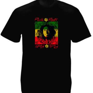 Tee Shirt Noir en Mémoire à Bob Marley à Manches Courtes