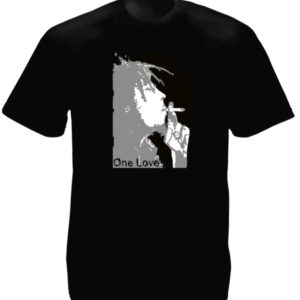 T-Shirt Noir Monochrome Bob Marley One Love