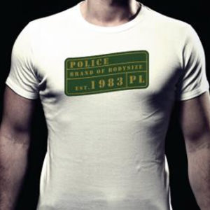 Tee Shirt Police Blanc pour Homme en Coton Col Ras-du-Cou