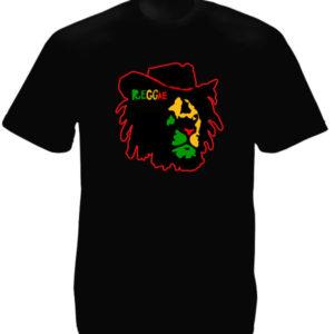 Tee Shirt de Reggae Noir à Manches Courtes Lion Conquérant Cowboy