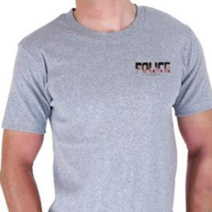 Tee Shirt Taille L Gris Uni Marque Police Style Classique Col Rond