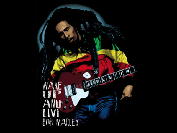 T-Shirt Noir Bob Marley Wake Up and Live