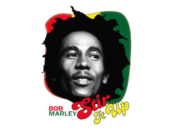 T-Shirt Blanc Manches Courtes Bob Marley Stir It Up