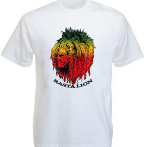 Tête de Lion Rasta Tshirt Blanc Imprimé à Manches Courtes pour Homme