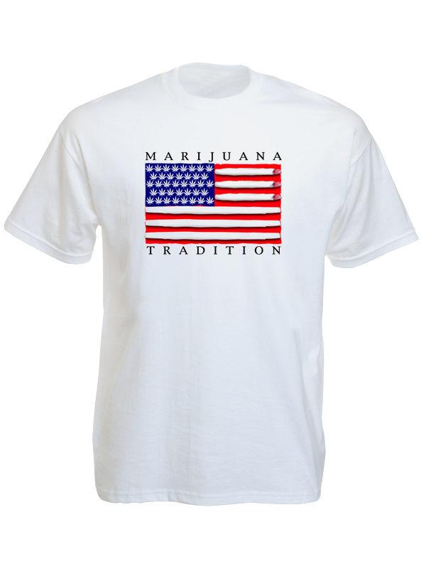 Tshirt Blanc avec Drapeau Américain pour Fumeur Manches Courtes